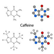 Caffeine molecule - structural chemical formulas and models - stock illustration