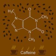 Chemical formula of caffeine - stock illustration