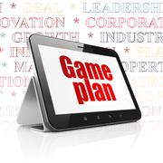 Business concept: Tablet Computer with Game Plan on display - stock illustration