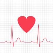 ECG - electrocardiogram with heart on grid Stock Illustration