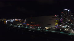 Aerial American Airlines Arena at night Stock Footage