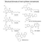 Chemical formulas of main synthetic cannabinoids Stock Illustration
