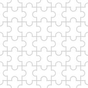 Seamless puzzle pattern on white background Stock Illustration