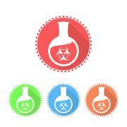 Icons of flat-bottomed flask with toxic solution - stock illustration
