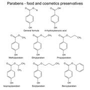 Parabens - food, cosmetic and pharmaceutical preservatives - stock illustration