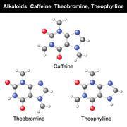 Caffeine, Theobromine, Theophylline - stock illustration