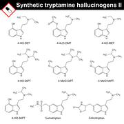 Artificial tryptamine hallucinogens, second set Stock Illustration