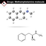 Methamphetamine  recreational drug molecule - stock illustration