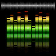 Equalizer scale with reflection and chart Stock Illustration