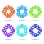 Colored aperture icons - stock illustration