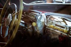 Interior of old retro car - stock photo