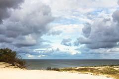 View to Curonian Gulf from Sand dunes - stock photo