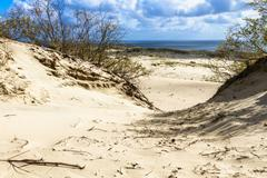 Sand dune in Curonian Gulf - stock photo