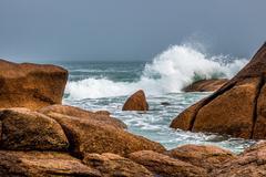 Atlantic ocean coast in Brittany - stock photo