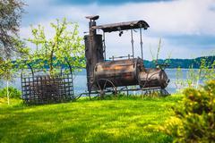 Metal old train model decoration - stock photo