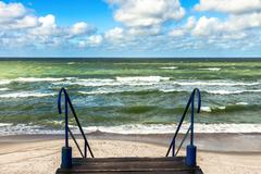 View to the Baltic sea and beach from staircase - stock photo
