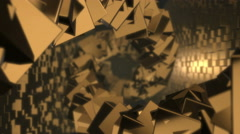 Golden Cubes Spiral Stock Footage