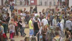 BELARUS, MINSK - SEPTEMBER 12, 2015: Teenagers and children at colorfest party Stock Footage