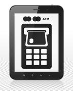Currency concept: Tablet Pc Computer with ATM Machine on display Stock Illustration