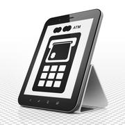 Stock Illustration of Money concept: Tablet Computer with ATM Machine on display