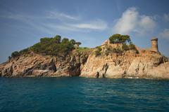beautiful sea view on the Spanish coast - stock photo