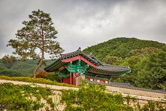 Buddhist monks temple in mountains in Korea Stock Photos