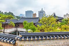 Traditional old and modern korean houses cityscape - stock photo