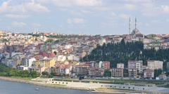 istanbul skyline cityscape pan from golden horn - stock footage