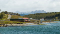 View of Tierra del Fuego from Estancia Haberton Farm Stock Footage