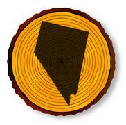 Nevada Map On Timber - stock illustration