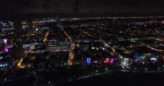 Aerial Miami Beach night lights 21 - stock footage