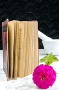 Stock Photo of Old book with red binding and flower on a marble table