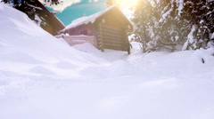 Happy family spending their winter vacation in the mountain cabin Stock Footage