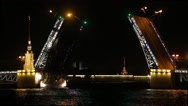 Stock Video Footage of the ship passes under the raised bridge