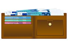 Stock Illustration of wallet with twenty euro banknote