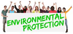Environmental protection group of young multi ethnic people holding banner - stock photo