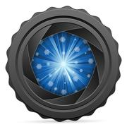 Camera shutter with snowflakes Stock Illustration