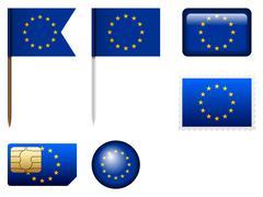 European union flag set - stock illustration