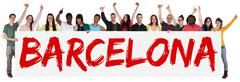 Barcelona group of young multi ethnic people holding banner - stock photo