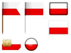 Stock Illustration of Poland flag set
