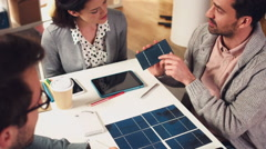 Solar energy sustainable business meeting Stock Footage
