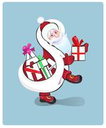 Santa Claus carrying sack full of gifts - stock illustration