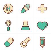 Icons Style  Medical Icons Set, Vector Design Stock Illustration