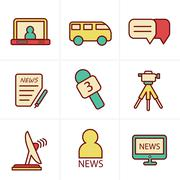 Icons Style News reporter icons set. - stock illustration