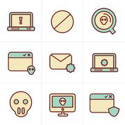 Icons Style  Digital criminal icons set - stock illustration