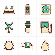 Icons Style Icons Style  vector black eco energy icons set on gray Stock Illustration