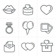 Line Icons Style Wedding Icons Set, Vector Design - stock illustration