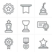 Line Icons Style Medals icons Stock Illustration