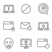 Line Icons Style  Digital criminal icons set - stock illustration
