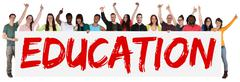 Education concept group of young multi ethnic people holding banner Stock Photos